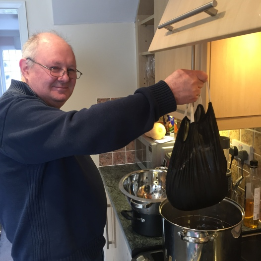 Dad helping with the brew bag